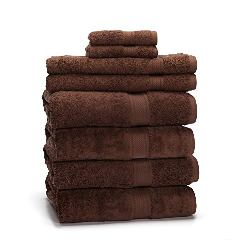 900 GSM 8 Piece Towel Set - Luxurious 100% Egyptian Cotton, Heavy Weight & Absorbent - 4 Large Bath Towels 30x55, 2 Hand Towels 20x30, 2 Face Towels 13x13, Chocolate from eLuxurySupply