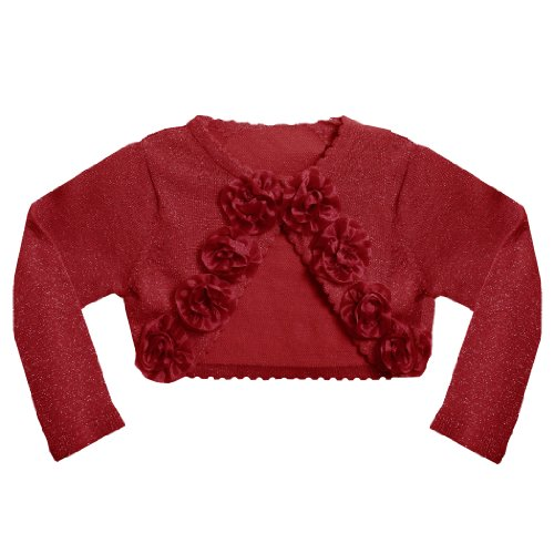 Bonnie Jean Baby/INFANT 12M-24M METALLIC RED ROLLED ROSETTE Special Occasion Cropped Bolero Sweater/Shrug/Jacket
