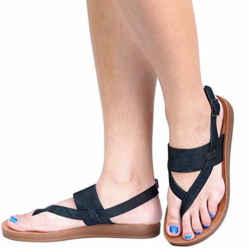Thong Strap FLINK Single Flat Black Sling FRe7 Women's Band Sandals q1C5B