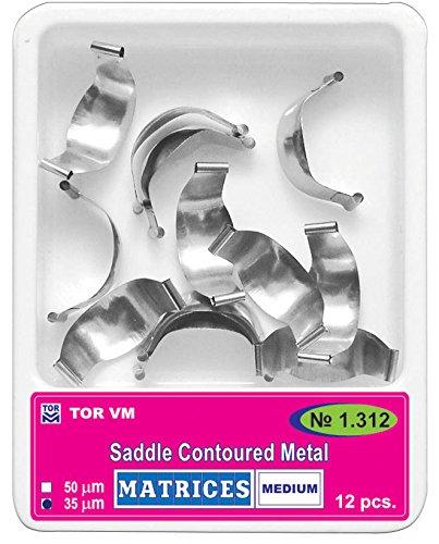 Dental Saddle Contoured Metal Matrices Matrix 12 pcs./pack (Medium/1 (Matrix Bands)