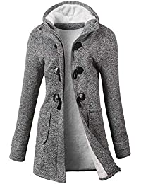 Womens Winter Fashion Outdoor Warm Wool Blended Classic Pea Coat Jacket (FBA)