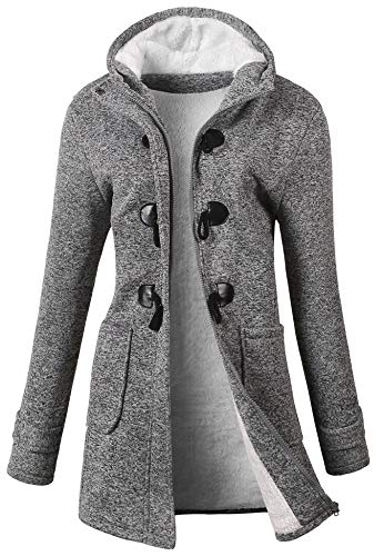 VOGRYE Womens Winter Fashion Outdoor Warm Wool Blended Classic Pea Coat Jacket (FBA) (S, Greyblack-Thicker)