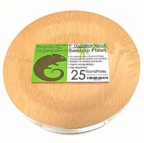"Impact Organics - 9"" Round Disposable Bamboo Plates - 25 Pack - Biodegradable Ecoware For Any Occasion"