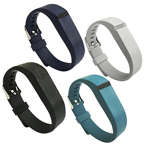4PCS EPYSN Compatible Fitbit Flex Band,Silicone Replacement Wristband For Fitbit Flex Bracelet Sport Bands with Metal Watch Band Buckle Large/Small Black-Navy-Slate-Grey