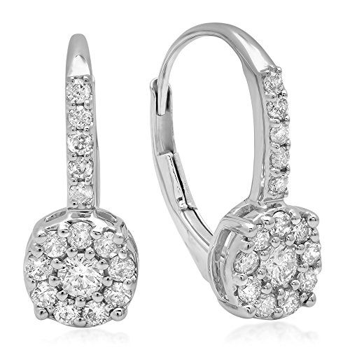 0.55 Carat (ctw) 14K White Gold Round White Diamond Ladies Cluster Style Dangling Drop Earrings 1/2 CT by DazzlingRock Collection