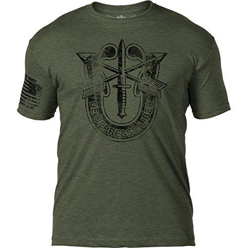- 7.62 Design Army Special Forces Distressed Patriotic Mens T Shirt,Heather Mil Green,Large