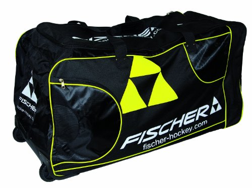 Fischer Hockey Senior Pro Player Wheel Bag, Black with Sulfur (Senior Hockey Stick Bag)