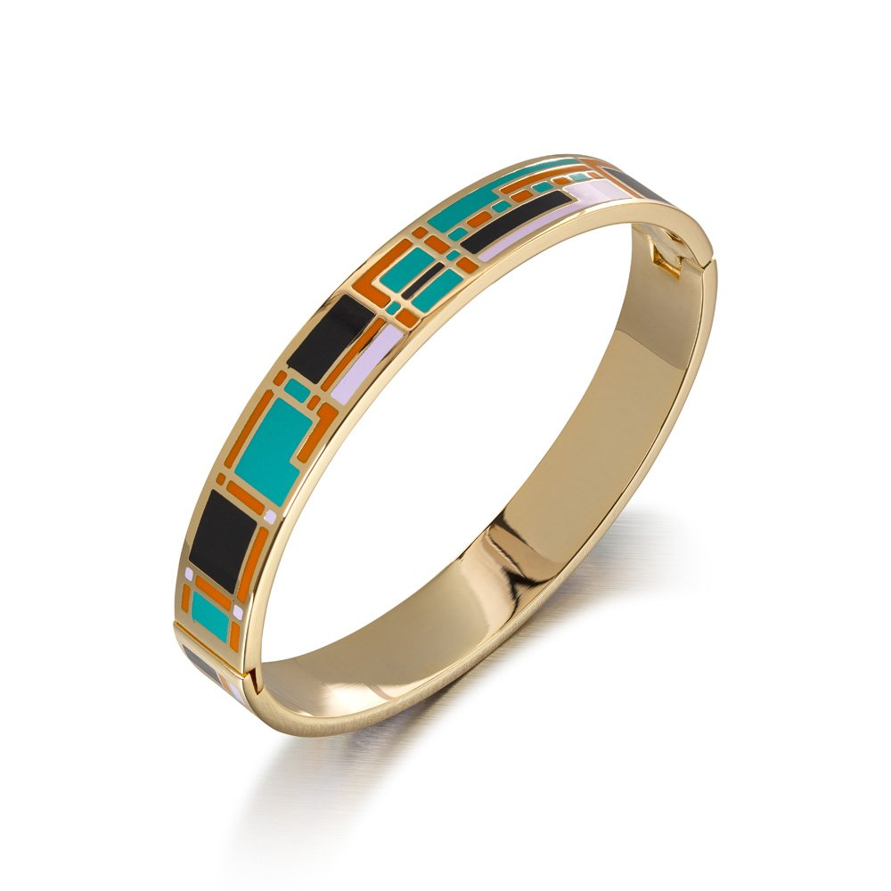 Avery and May Single Stackable Summer Boho Tricolor Hoop Enamel Bangle Bracelet for Her, Orange, Gold Plated