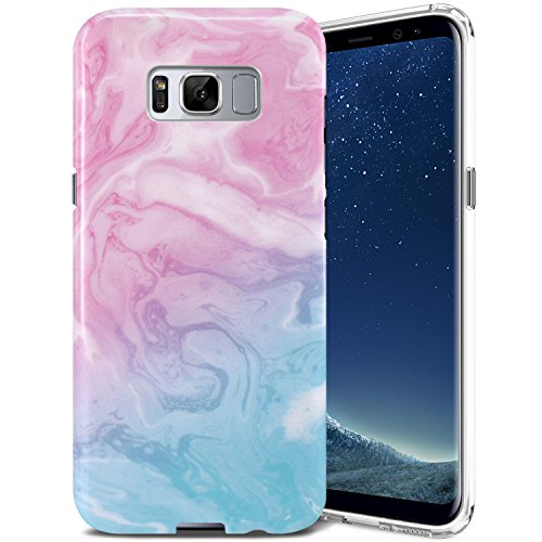 Galaxy S8 Plus Case, ZUSLAB Pattern Design, Slim Shockproof Flexible TPU, Soft Rubber Silicone Skin Cover for Samsung Galaxy S8 Plus (Pink/Blue Marble)
