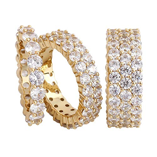 (Hip Hop CZ Jewelry Mens Fashion Cut Cubic Zirconia Tennis Ring Gold Plated Eternity Ring (1 Row,2 Row,3 Row) (Gold 3 Row, 8))