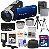 Bell & Howell Fun Flix DV50HD 1080p HD Video Camera Camcorder (Blue) + 32GB + Battery + Charger + Case + Tripod + LED + Filters + Tele/Wide Lens Kit