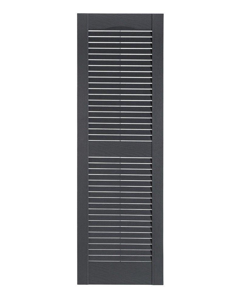 Perfect Shutters Premier Louver Exterior Decorative Shutter, 15'' x 35'', Dark Gray