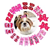 Yagopet 20pcs/pack New Pet Hair Bows for Girls Dogs Pink Rose Red Colors Rhinestone Flower Pearls Attached Top Quality Gorgeous Dog Grooming Products