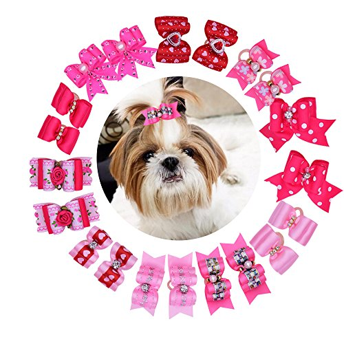 Yagopet 20pcs/pack New Pet Hair Bows for Girls Dogs Pink Rose Red Colors Rhinestone Flower Pearls Attached Top Quality Gorgeous Dog Grooming ()