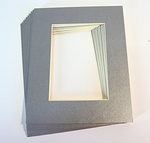 - Pack of 10 SILVER 8x10 Picture Mats Matting with White Core Bevel Cut for 5x7 Pictures