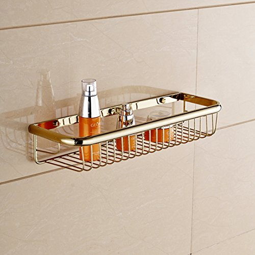 Solid Brass Rectangle Shower Wire Basket Wall Mounted Shower Caddy Soap Holder Storage Shelf (45cm13cm7cm, Polished Brass finish) - Solid Brass Rectangular Shower Basket