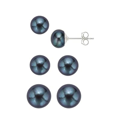60ba95479 Amazon.com: 925 Sterling Silver Freshwater Cultured Pearl AAA Stud Earrings  Set - Special Offer (3 Sizes Black): Jewelry