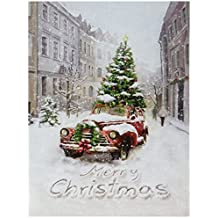 Antique Truck in City w Tree Photo on Canvas w Led Lights Wall Art Christmas Decor