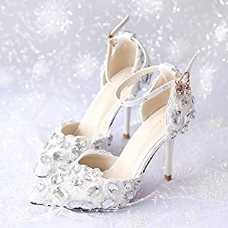 VIVIOO Prom Sandals Shoes Women Heels Red White Lace Diamond Bride Wedding Shoes With High Heels Fine Dress Shoes Pointed Sandals,7Cm Heel Red,7.5
