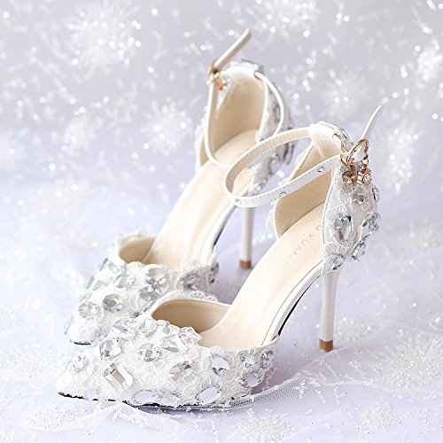 Prom White Shoes Heel VIVIOO 9Cm Shoes Shoes Wedding 5 Diamond Heels High With Pointed Red 7 White Women Lace Sandals Heels Dress Fine Bride Sandals 4EYYTxq1wd