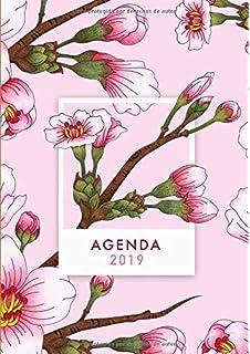 Agenda 2019: Agenda 2019 con diseño de flores, rosado, semana vista, tamaño