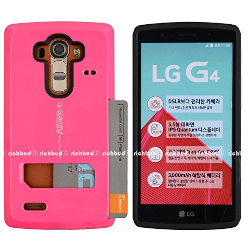 LG G4 Case,[Hot Pink] Guardful [Shockproof] Credit Card Case [Dual Layer] Protective Hybrid Case [Coin Standing] with One Card Slot Wallet for LG G4 (Hot Pink)