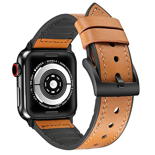 Haluoo Leather Band for Apple Watch Series 4 40mm, Vintage Retor Leather + TPU Sport Replacement Straps Adjustable Dressy Wristband for iWatch Apple Watch Series 4 40mm Men Women (Brown)