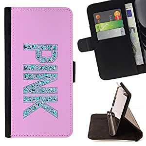 For Samsung Galaxy S3 III I9300 Pink Love Text Silver Diamond Gem Bling Style PU Leather Case Wallet Flip Stand Flap Closure Cover