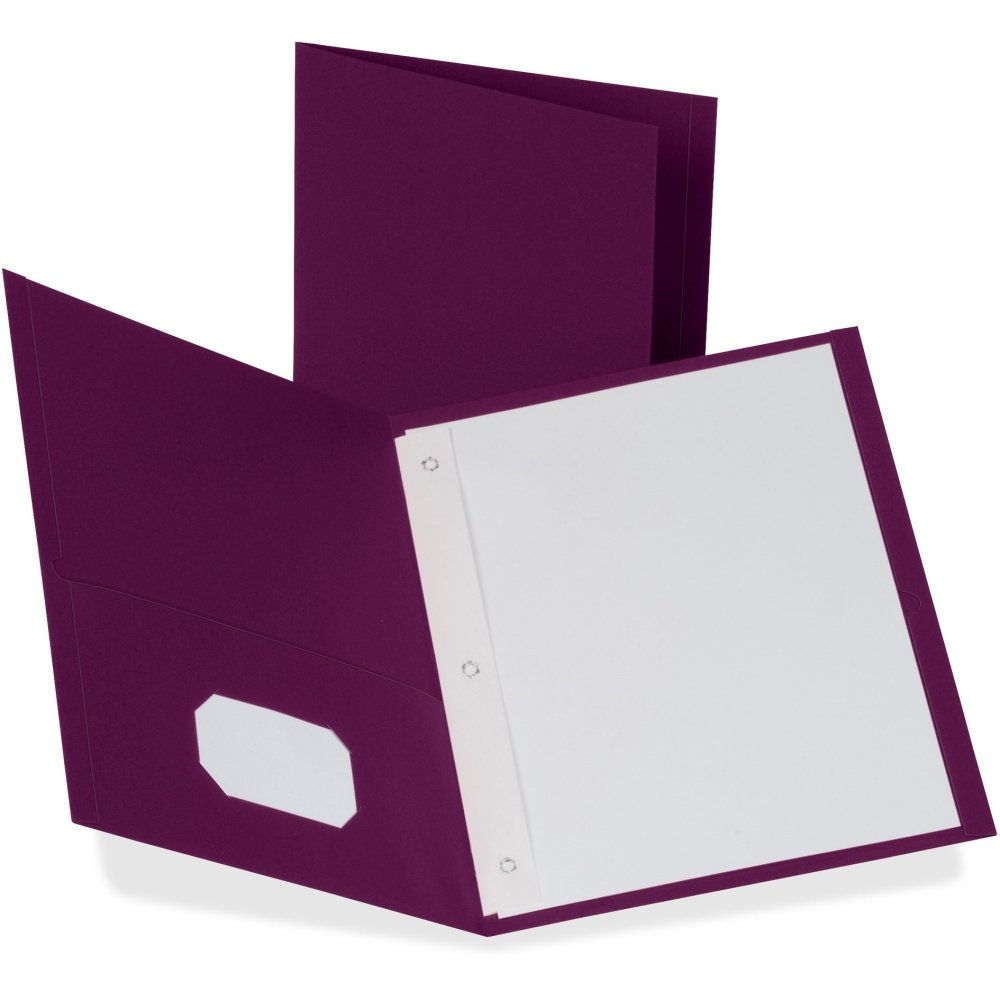 Twin-Pocket Folders with 3 Fasteners, Letter, 1/2 Capacity, Burgundy, 25/Box''