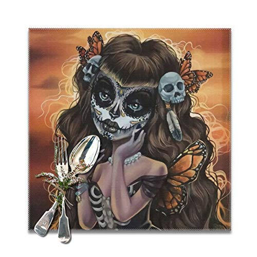 Daisysky Woman Painting with Sugar Skull Makeup Parlour Insulation Antifouling Non-Slip Polyester Easy Cleaning Dinner Table Placemat 6-Piece Set -