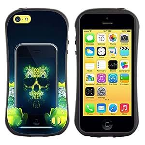 Suave TPU GEL Carcasa Funda Silicona Blando Estuche Caso de protección (para) Apple Iphone 5C / CECELL Phone case / / Skull Technology Green Revolution Art Nature /