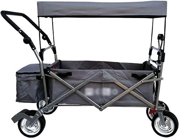 Carrito plegable carro para picnic Carrito de carro plegable for jardín Carro pesado con dosel Carro de compras multifuncional for exteriores cámping playa Tirar del camión con 4 ruedas, Carga: 150kg: Amazon.es: