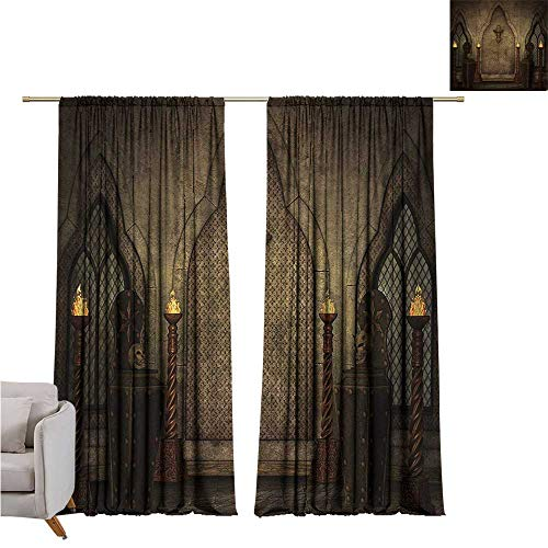 (RenteriaDecor Gothic,Customized Curtains Fantasy Scene with Old Fashioned Wooden Torch and Skull Candlesticks in Dark Spooky Room W72 x L96 Big Window Drapes)