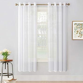 PONY DANCE Voile Vorhang Transparent - Gardinen Wohnzimmer Voile Stores  Gardinen Ösenschal, 2er Set H 175 x B 140 cm, Weiß