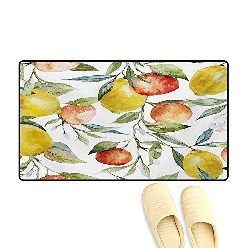 "Door Mats,Lemon and Orange Clementine Tree Branches Fruit Yummy Winter Season Vitamin Design,Customize Bath Mat with Non Slip Backing,Multicolor,20""x32"""