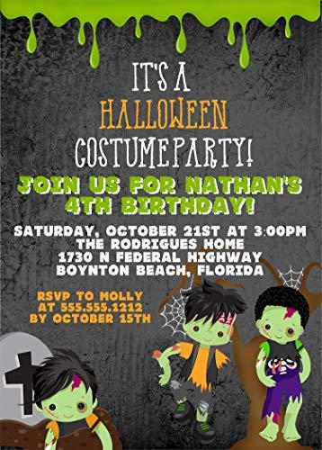 Boys Zombie Halloween Birthday Party Invitations, Halloween Birthday Costume Party Invitation With Envelopes ()