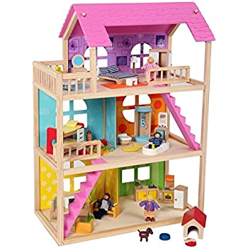 McKinley Dollhouse with 54 pcs furniture, 4 dolls, and Pet dog, Sturdy Wooden Uptown Doll house, by Pidoko Kids