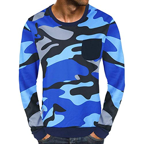 (Sunhusing Men's Fashion Casual Long Sleeve Camouflage Top Classic Pocket Sweatshirt Pullover)