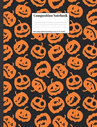 Composition Notebook: Orange Pumpkins Spooky Halloween Jack O