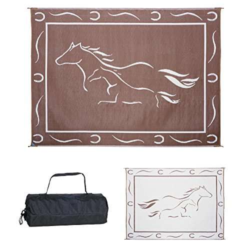 Stylish Camping GH8117 Brown/White 8-Feet x 11-Feet Galloping Horses Mat