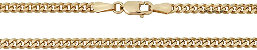 Harlembling Solid 14k Gold 3mm Miami Cuban Chain - Heavy & Tight Link - Great for Pendants - Women's Or Men's Real Gold Necklace