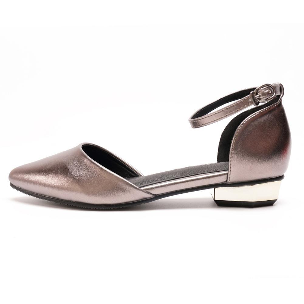 L@YC Women Pointed Sandals Word Buckle Summer Flat Bottom High Heels Dance Office Dress Shoes , gray , 40
