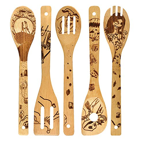 - Nightmare Wooden Spoons Set House Warming Presents Slotted Spoon Slotted Spoons Bamboo Utensil Sets