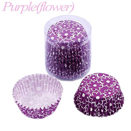 Humasol 100Pcs Purple Flower Paper Cake Cup Liners Baking Cupcake Muffin Cake Cases Party DIY Tool -