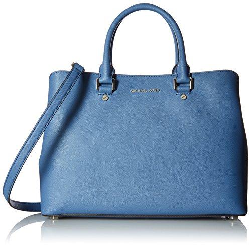 Denim Leather Satchel (MICHAEL MICHAEL KORS Savannah Large Leather Satchel (Denim Blue))