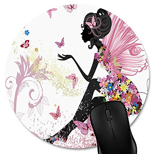 Knseva Butterflies Fairy Circular Mouse Pads, Cartoon Fairytale Pink Butterfly Beautiful Girl Non-Slip Rubber Round Mouse Pad Custom -