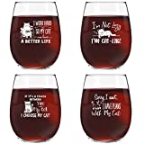 Funny Cat Stemless Wine Glasses Set of 4 | Hilarious Cat Gift Idea for Women, Pet Owners and Wine Lovers | 15 oz. Funny Cat Wine Glass with Cute Messages | Dishwasher Safe | Made in USA Review