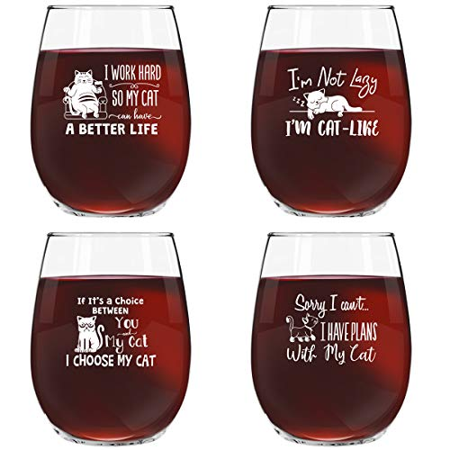 Funny Cat Stemless Wine Glasses Set of 4 | Hilarious Cat Gift Idea for Women, Pet Owners and Wine Lovers | 15 oz. Funny Cat Wine Glass with Cute Messages ()