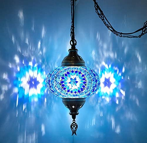 DEMMEX Turkish Moroccan Mosaic Plug in Swag Pendant Lamp Light Fixture Plugged Chandelier, US Plug with 15feet Chain – Customizable Colors 6.5 Pendant
