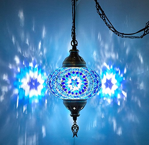 DEMMEX Turkish Moroccan Mosaic Hardwired OR Swag Wall Plug in Chandelier Light Ceiling Hanging Lamp Pendant Fixture (1 X 6.5
